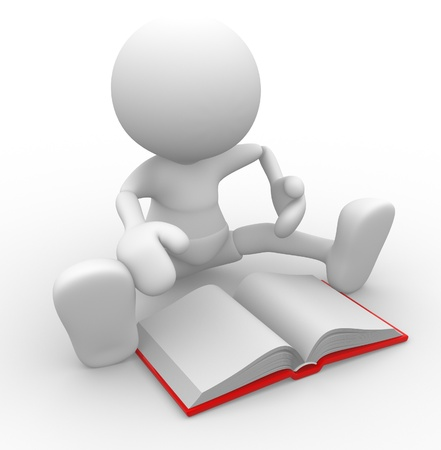 3d people - man, person with a open book. Stock Photo - 14868988