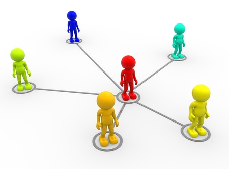 3d people - men, person arranged in a network  photo