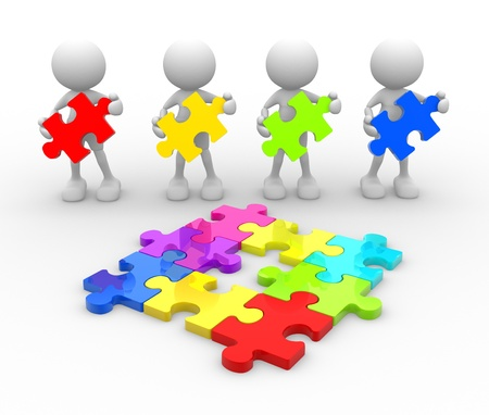 missing piece: 3d people - men, person with last  piece of puzzle.