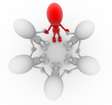 3d people - men, person in a circle. Leadership and team Stock Photo - 14869013