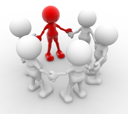 group leader: 3d people - men, person in circle. Leadership and team