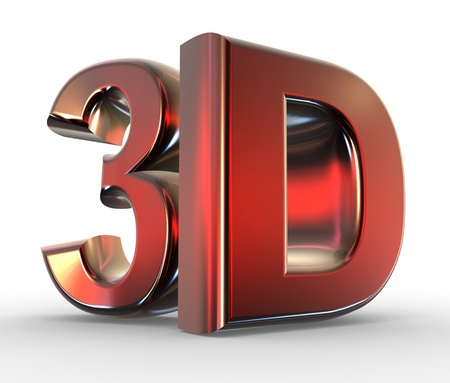 the third dimension:  3d word - shiny metallic. 3d render      Stock Photo