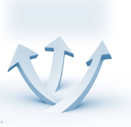 White arrows up grouped . Business success concept photo