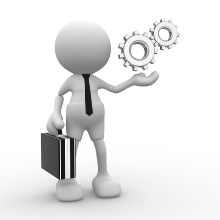 machinery machine: 3d people - man, person with gear mechanism. Businessman