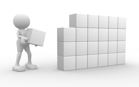 3d people - man, person with cubes. Success business  photo