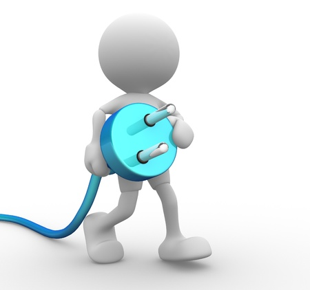 electric plug: 3d people - man, person carrying in his hand an electric plug.