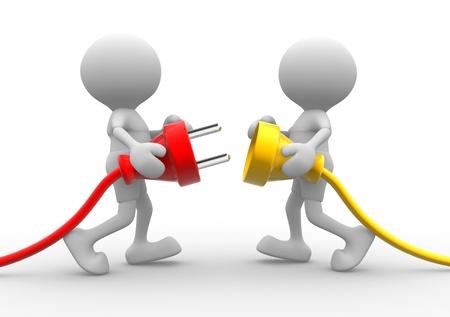 comunicación: 3d personas - hombres, persona que se conecta un cable. Enchufe eléctrico Foto de archivo