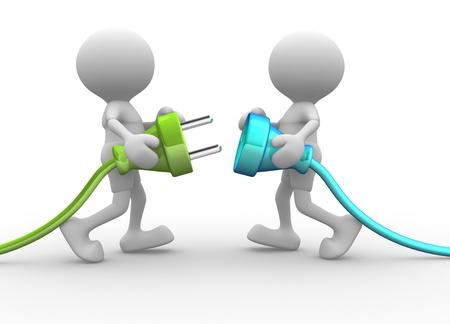 enchufe: 3d personas - hombres, persona que se conecta un cable. Enchufe eléctrico Foto de archivo