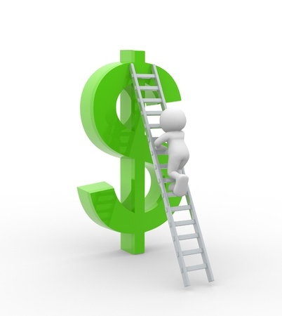 clamber: 3d people - man, person with ladder and dollar sign. New profits.