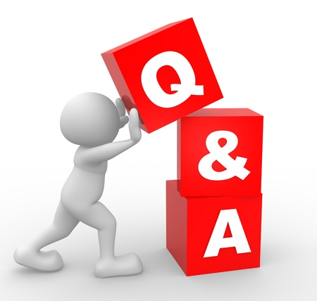 answer: 3d people - man, person with  cubes. Question and answer  - Q&A
