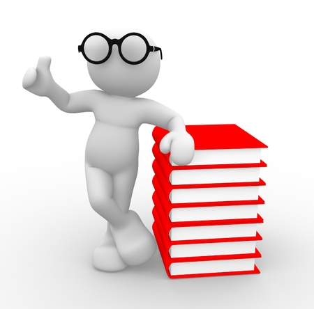 3d people - man, person with  books Stock Photo - 14869133