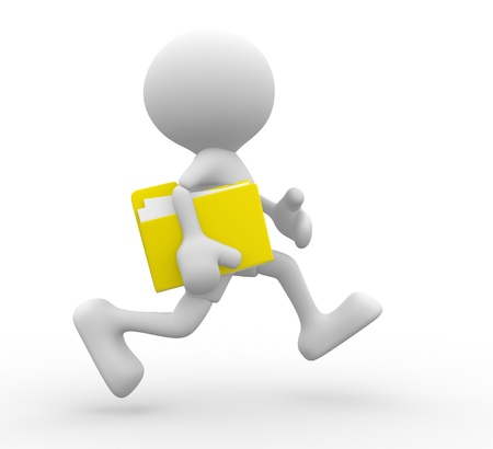 3d people - man, person with folder, running. Businessman.  photo