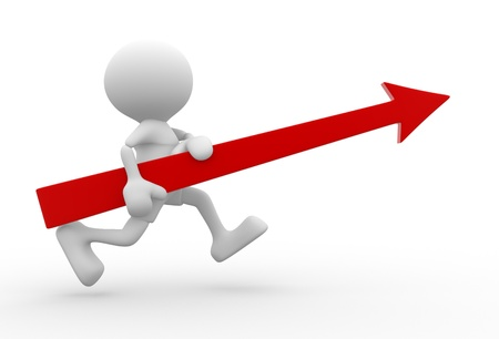 company growth: 3d people - man, person with a arrow, running. Business success. Stock Photo