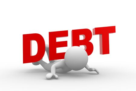 over the shoulder: 3d people - man, person and word  debt  on his back  Debt concept  Stock Photo