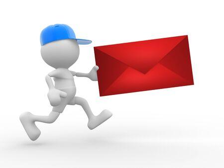 facteur: 3d personnes - homme, personne avec capuchon Postman avec enveloppe