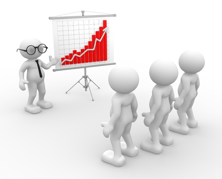 flipchart: 3d people - men, person presenting at a  financial chart  Leadership and team