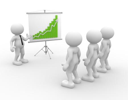 financial leadership: 3d personas - hombres, persona que represente a un cuadro financiero Liderazgo y equipo