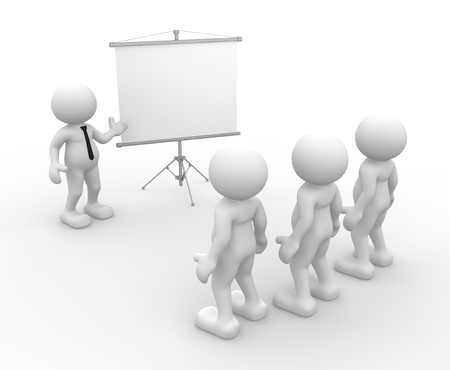 present presentation: 3d people - men, person presenting at a flip-chart  Leadership and team   Stock Photo