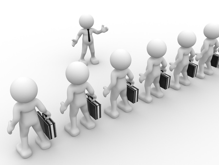 3d manager: 3d people - man, person with briefcase   businessman   Leader and my team
