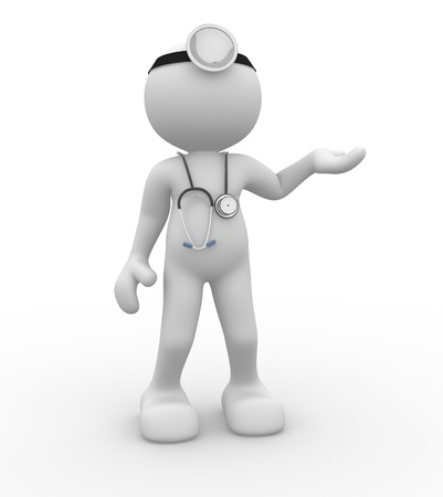 character set: 3d people - man, person with a stethoscope  Doctor