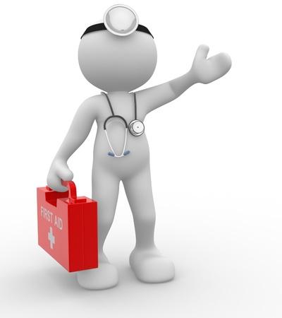 titeres: 3d gente - hombre, persona con un estetoscopio y Doctor de primeros auxilios