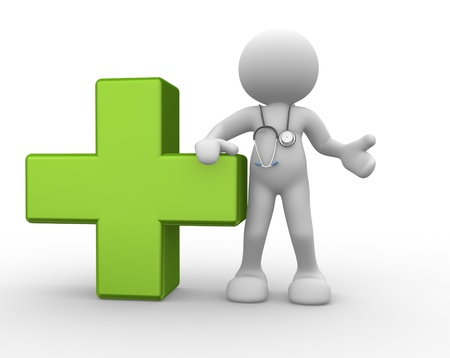health symbols metaphors: 3d people - man, person with a stethoscope  Doctor