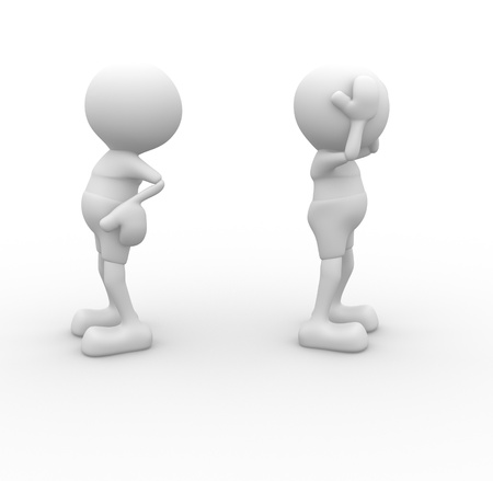 misunderstanding: 3d people - men, person argue, conflict  Misunderstanding