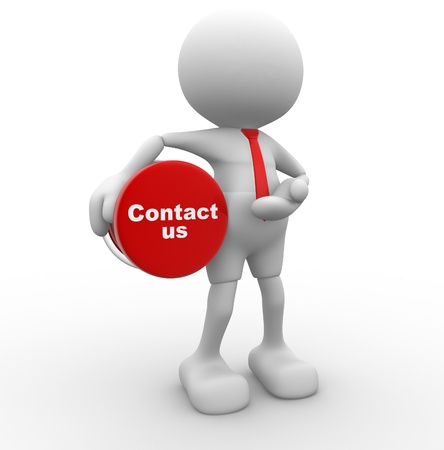 3d contact us: 3d people - man, person with button   Contact us