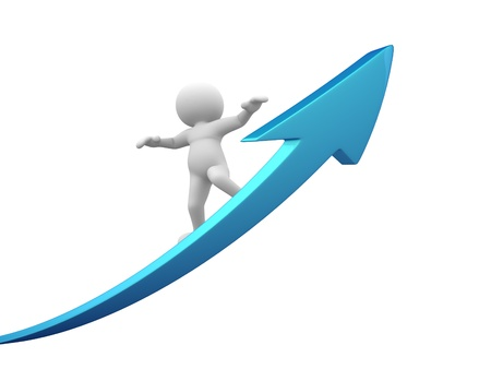 3d people - man, person with a arrow  The concept of success Stock Photo - 14949804