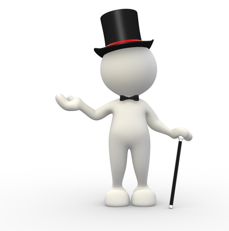 3d people - man,  person with hat and with a cane. Gentleman  Stock Photo - 14949866