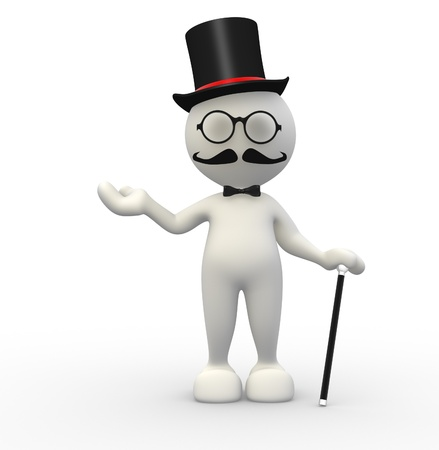 3d people - man,  person with hat and with a cane. Gentleman  photo