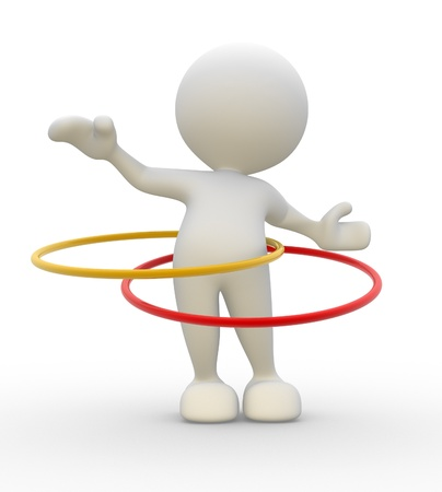 3d people - man, person with hula hoop. Stock Photo - 14949872
