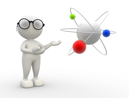 3d people - man, person and conceptual structure of atom.  photo