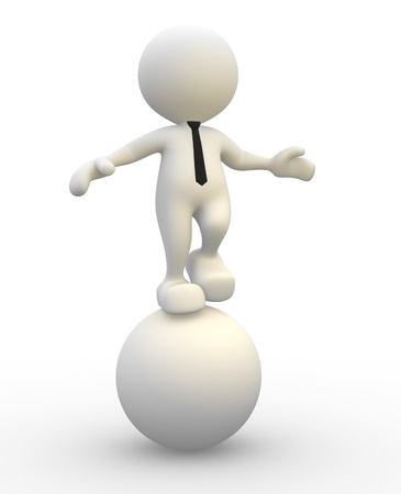 3d people - man, person in equilibrium on a ball.  photo