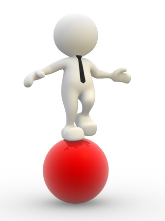equilibrium: 3d people - man, person in equilibrium on a ball.  Stock Photo