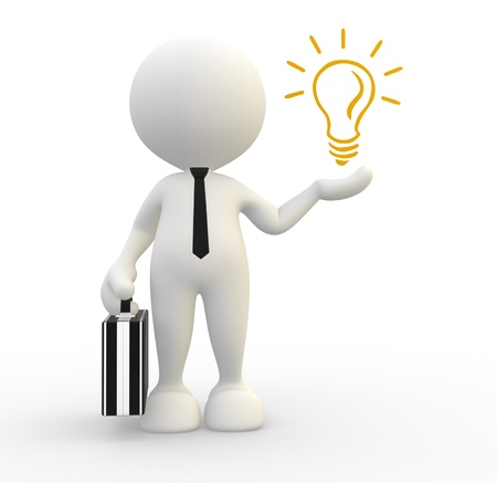 metal light bulb icon: 3d people - man, person with a light-bulb