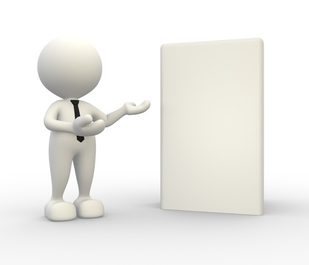 3d people -  man, person present a blank box. Concept of message.  photo
