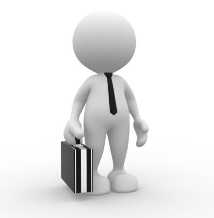 3d people - man, person with briefcase and tie. Businessman  photo