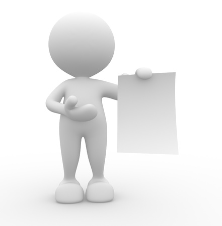3d people - man , person presenting a blank paper . Concept of message.  Stock Photo - 14949869