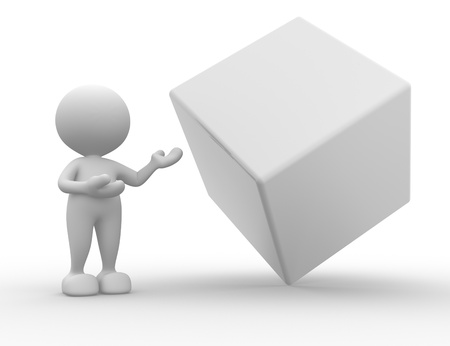 3d people - man , person presenting blank cube . Concept of message.  photo