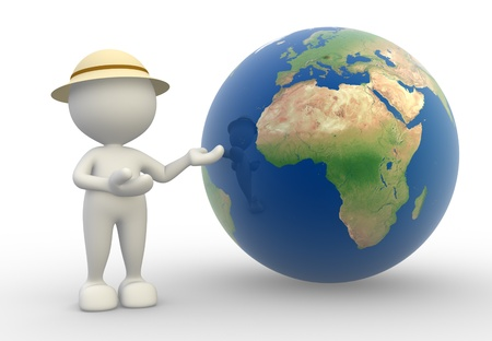 3d people -  man, person present a earth globe. Travel concept Stock Photo - 14967107