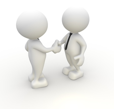 3d people - men, person with tie. Handshake. Businessman photo