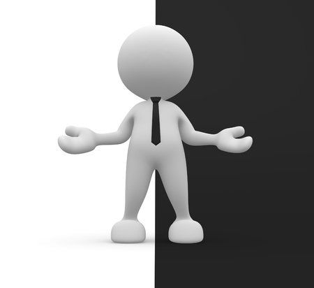3d people - man, person with open arms. Welcome. Ying yang symbol. Stock Photo - 14967028