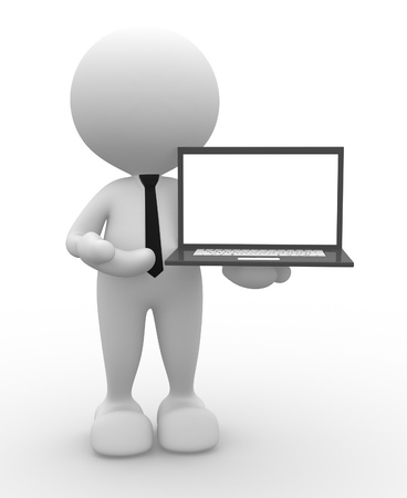 3d people - man, person with a laptop photo