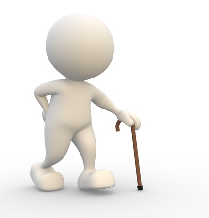 sustained: 3d people - man , person supported by a walking stick. Grandfather  Stock Photo
