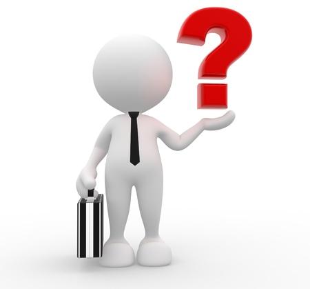 punto di domanda: Persone 3d - uomo, persona con un punto interrogativo. Uomo d'affari