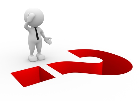 3d people - man, person and question mark as a hole Stock Photo - 14967071