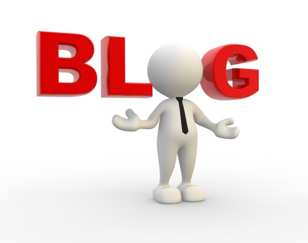 blogs: 3d people - man, person and word blog. Concept of communication, dialogue Stock Photo
