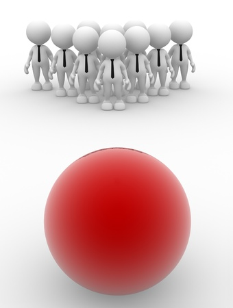 3d people - man, person with a ball   Group of people confront with danger   photo