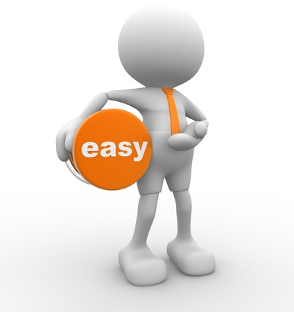 easy: 3d people - man, person and a button with word   easy